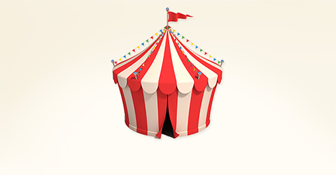 Whimsical illustration of a circus or event tent