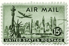Antique air mail postage stamp